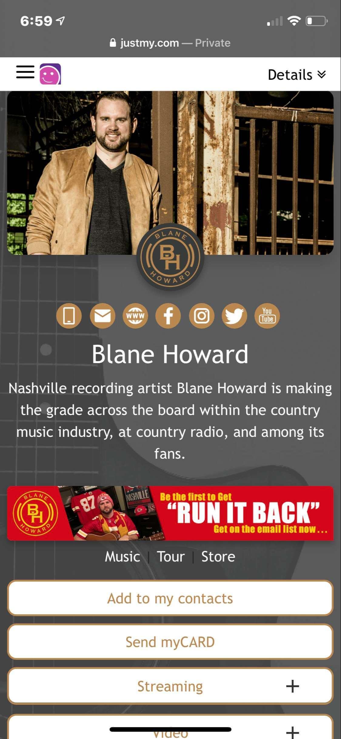 #grabmyCARD  Blane Howard